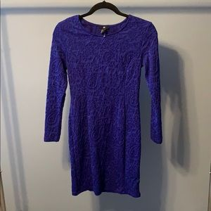 H and M Royal Blue long sleeve fitted dress